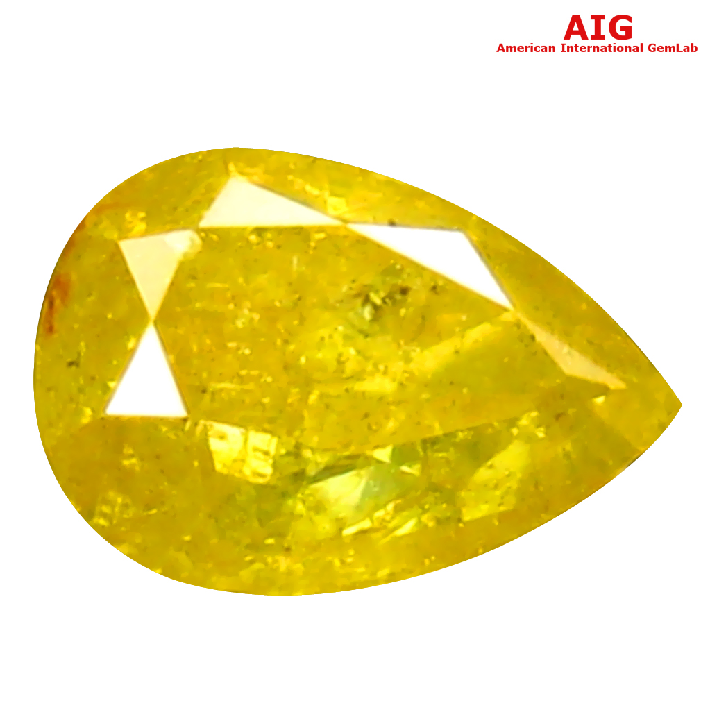 0.58 ct AIG CERTIFIED VALUABLE PEAR SHAPE (6 X 4 MM) FANCY VIVID YELLOW DIAMOND NATURAL GEMSTONE