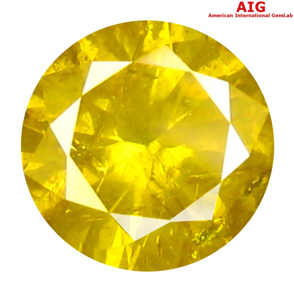 0.52 ct AIG CERTIFIED RESPLENDENT ROUND SHAPE (5 X 5 MM) FANCY VIVID YELLOW DIAMOND NATURAL GEMSTONE