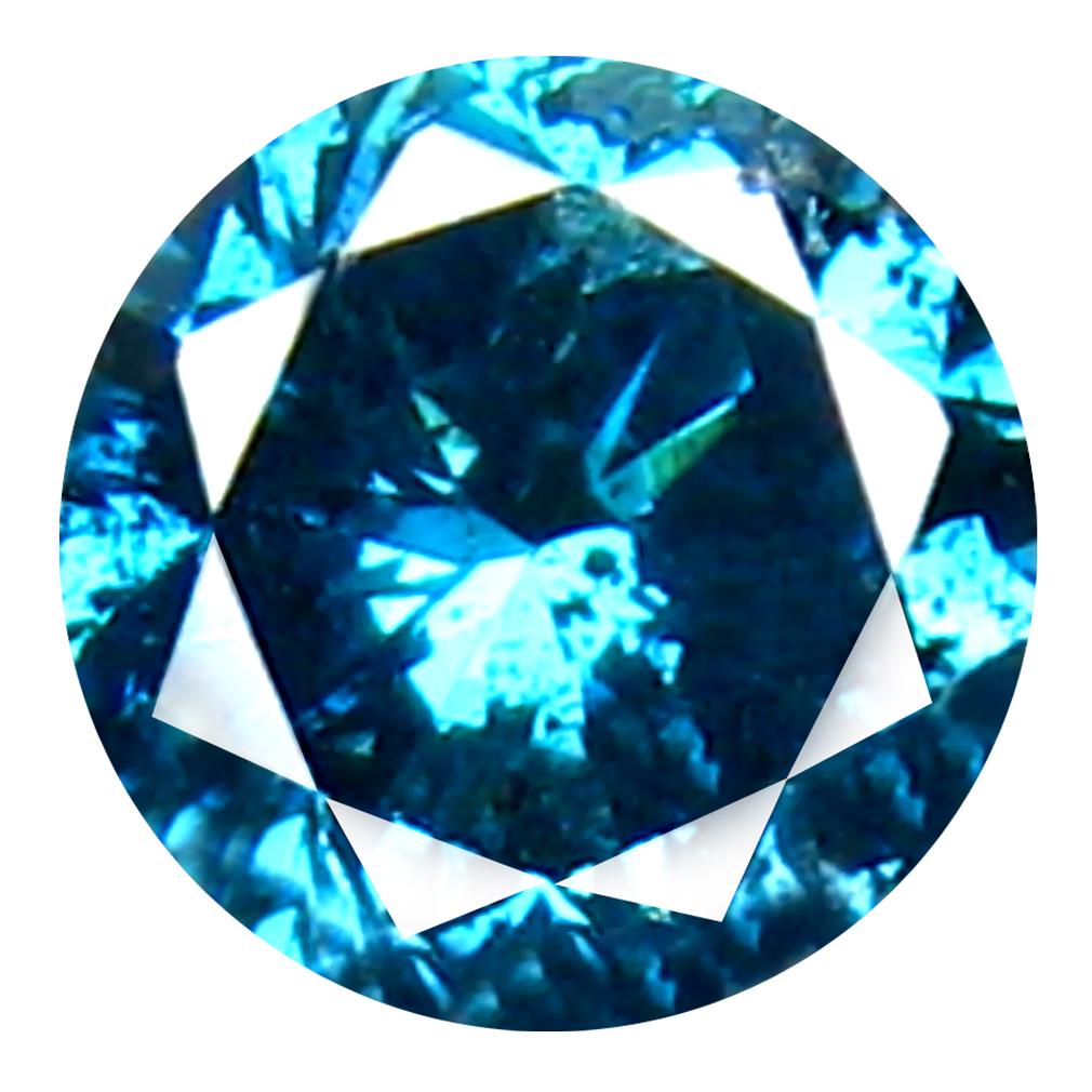 0.30 ct AAA GRADE AMAZING ROUND CUT (4 X 4 MM) 100% NATURAL VIVID BLUE DIAMOND GEMSTONE