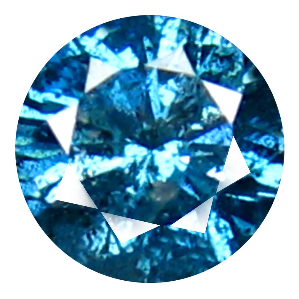 0.25 ct AAA GRADE FLASHING ROUND CUT (4 X 4 MM) 100% NATURAL VIVID BLUE DIAMOND GEMSTONE