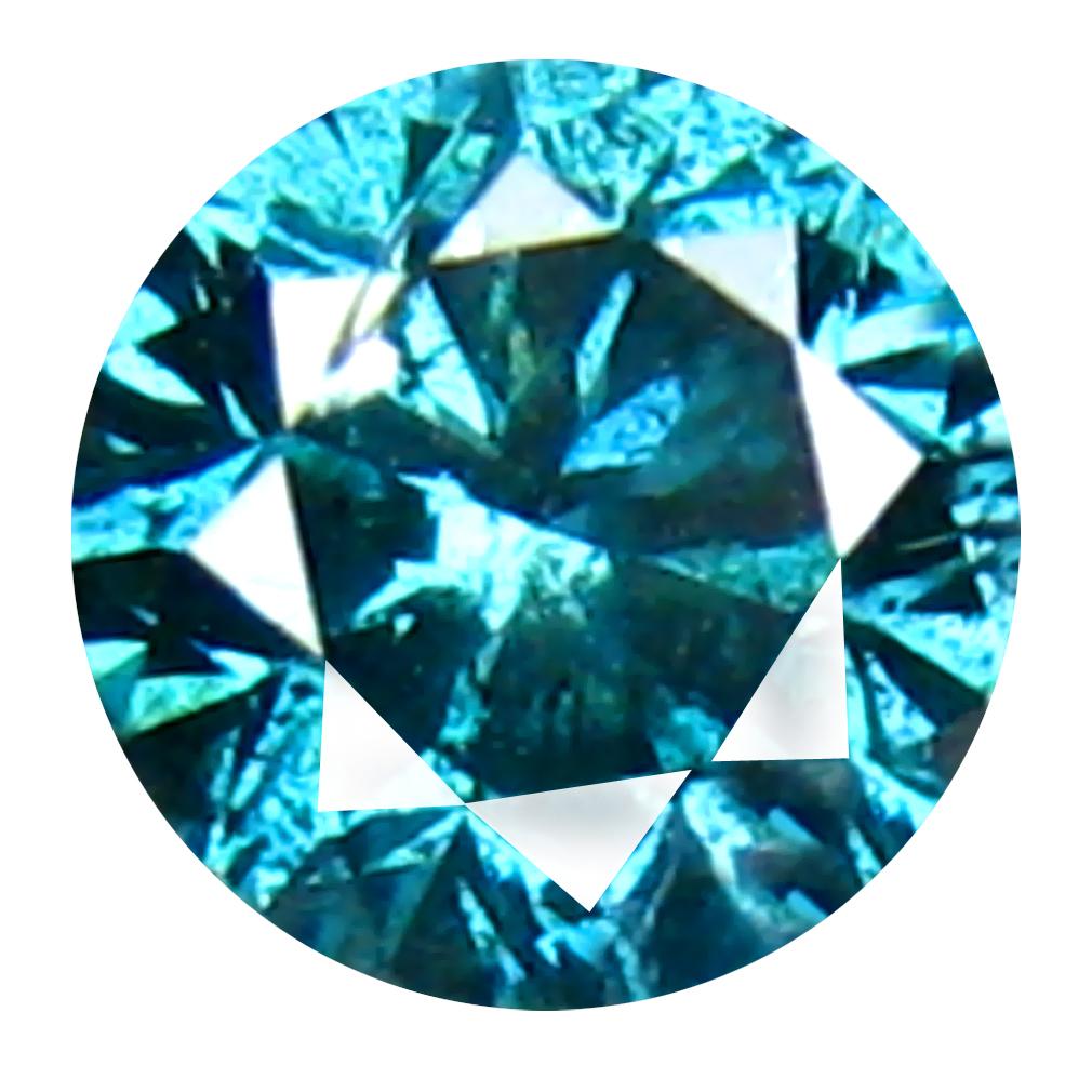 0.24 ct AAA GRADE PRETTY ROUND CUT (4 X 4 MM) 100% NATURAL VIVID BLUE DIAMOND GEMSTONE