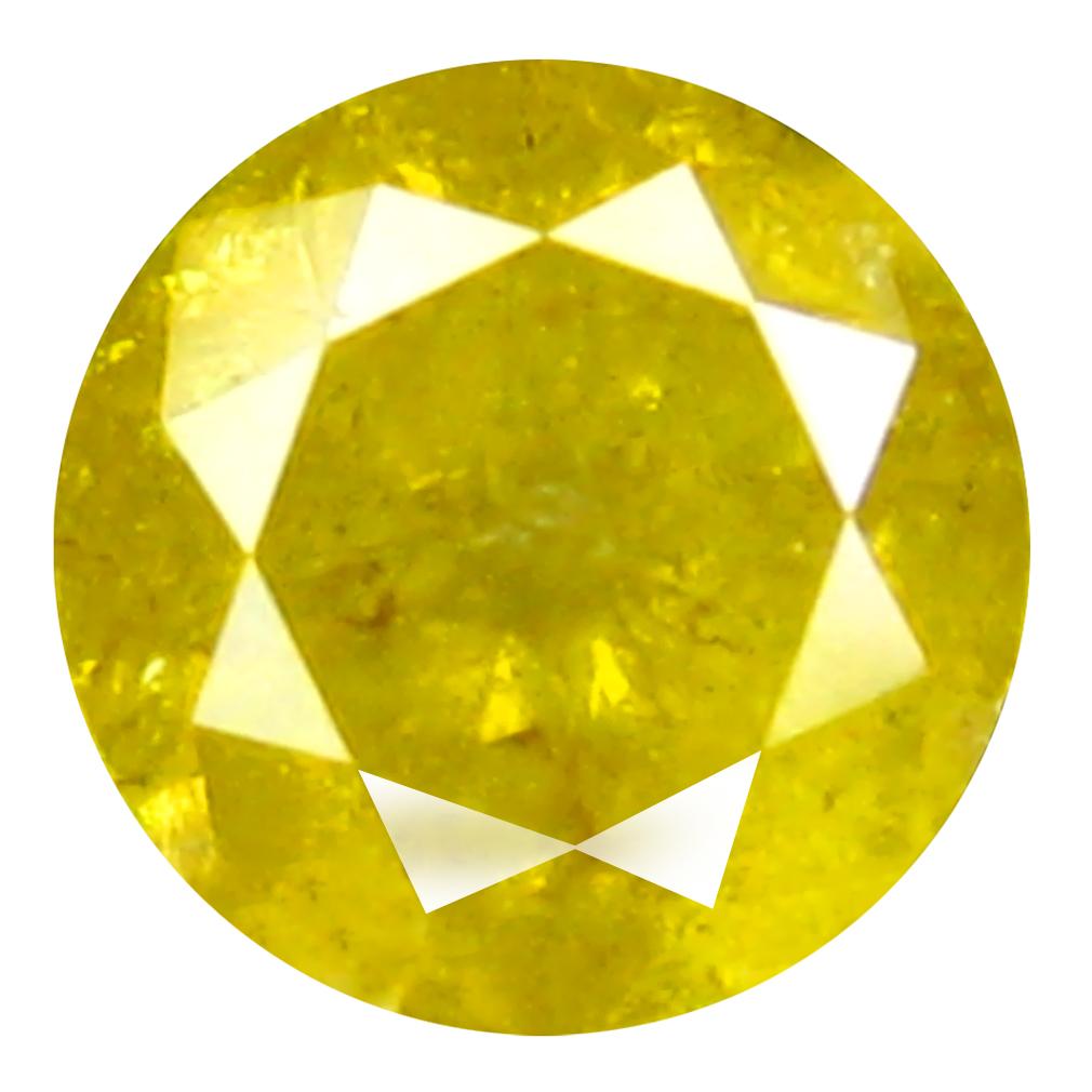 0.36 ct STUNNING ROUND CUT (4 X 4 MM) CONGO FANCY VIVID YELLOW DIAMOND NATURAL GEMSTONE