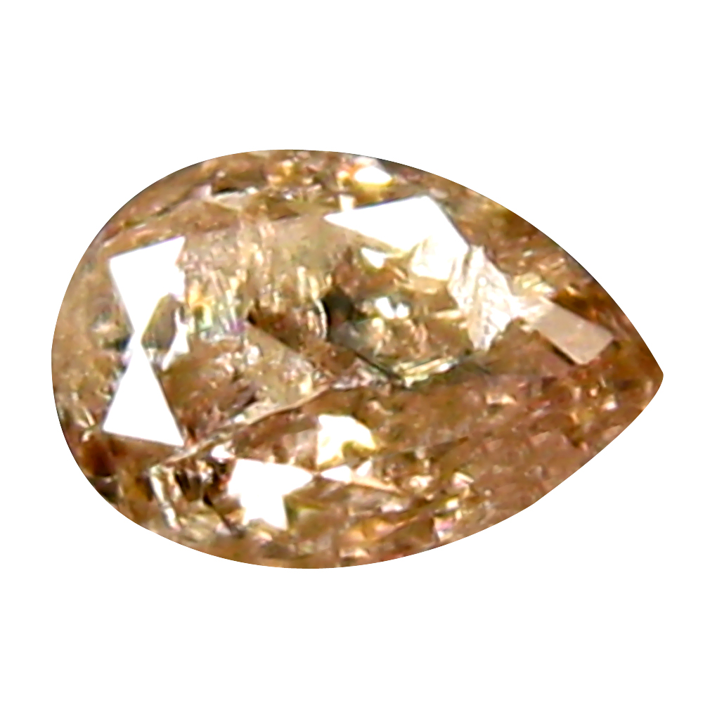 0.17 ct VERY GOOD PEAR CUT (4 X 3 MM) CONGO FANCY BROWNISH PINK DIAMOND NATURAL GEMSTONE