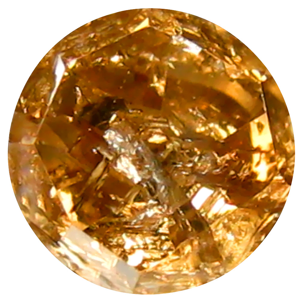 0.43 ct Impressive Round Shape (4 x 4 mm) Fancy Pinkish Orange Diamond Genuine Stone