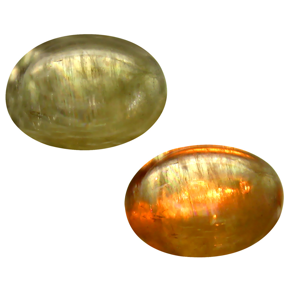 6.60 ct  Remarkable Oval Cabochon Shape (14 x 10 mm) Olive Green Diaspore Cats Eye Natural Gemstone