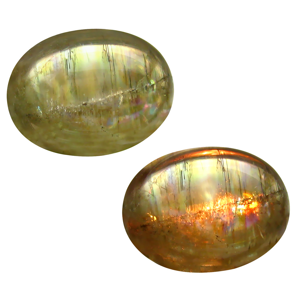 11.50 ct  Remarkable Oval Cabochon Shape (16 x 12 mm) Olive Green Diaspore Cats Eye Natural Gemstone