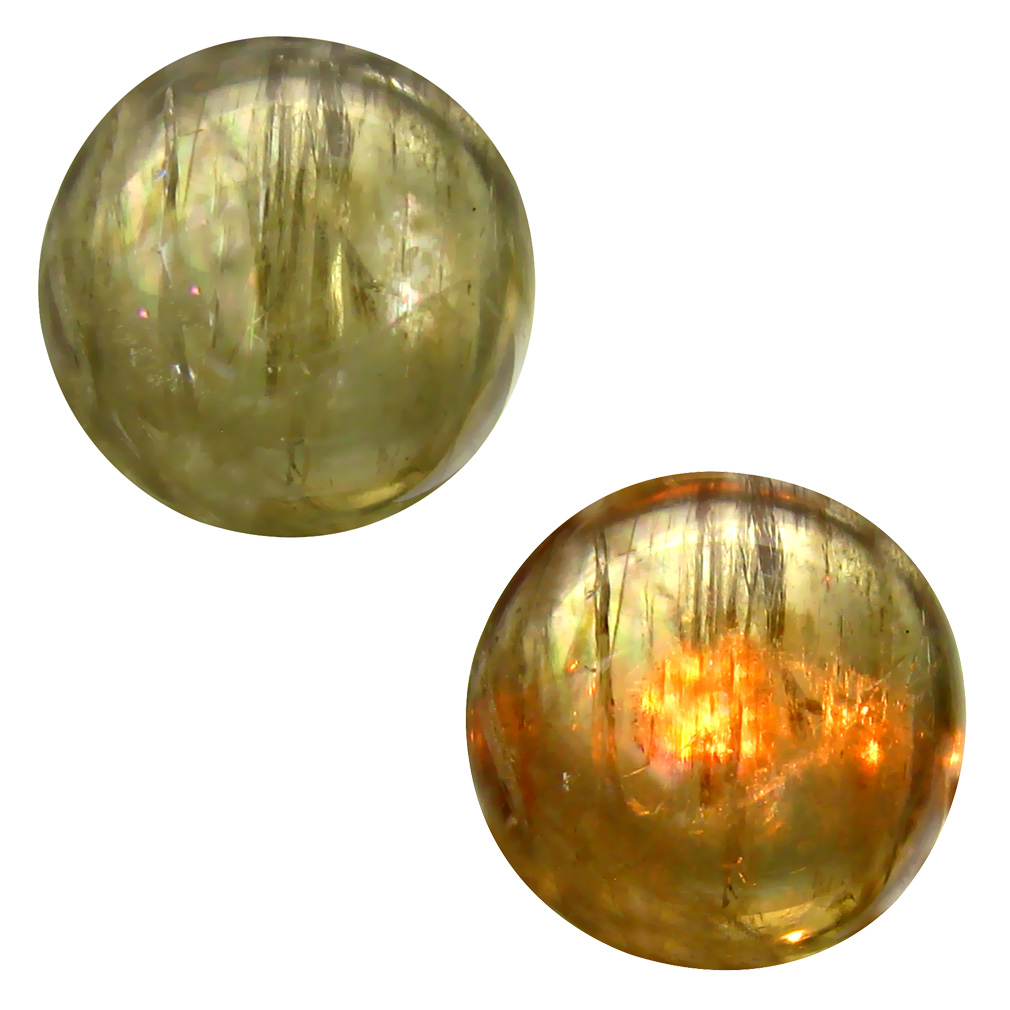 9.14 ct  Incredible Round Cabochon Shape (13 x 13 mm) Olive Green Diaspore Cats Eye Natural Gemstone