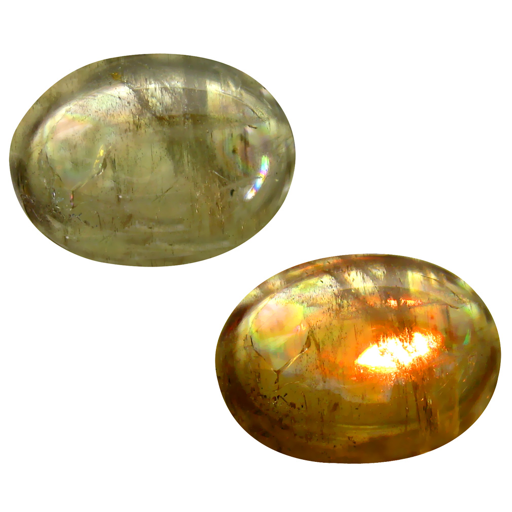 20.00 ct  World class Oval Cabochon Shape (20 x 15 mm) Olive Green Diaspore Cats Eye Natural Gemstone