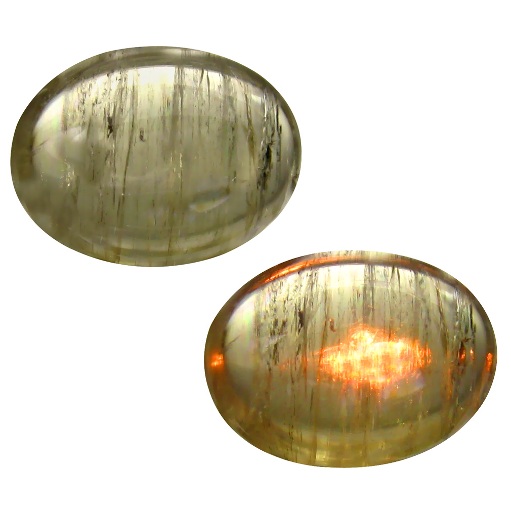 9.24 ct  Very good Oval Cabochon Shape (16 x 12 mm) Olive Green Diaspore Cats Eye Natural Gemstone