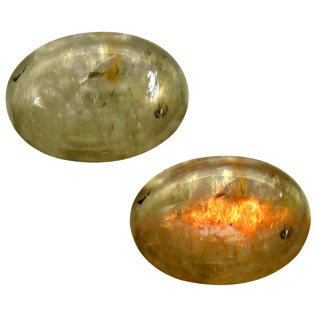 6.95 ct  Terrific Oval Cabochon Shape (14 x 10 mm) Olive Green Diaspore Cats Eye Natural Gemstone