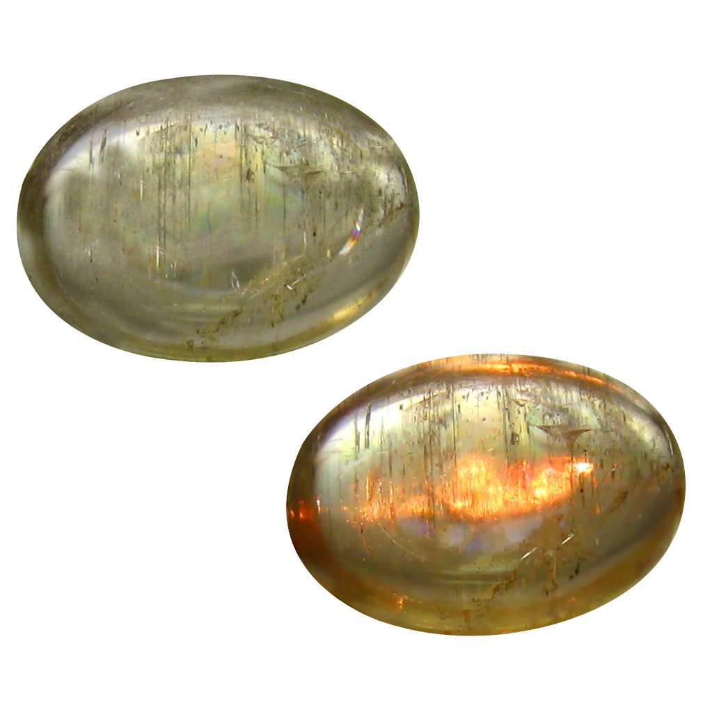 4.64 ct  Topnotch Oval Cabochon Shape (14 x 10 mm) Olive Green Diaspore Cats Eye Natural Gemstone