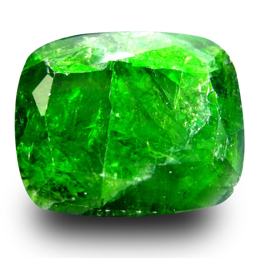 10.85 ct  Fair Cushion Shape (16 x 13 mm) Green Chrome Diopside Natural Gemstone