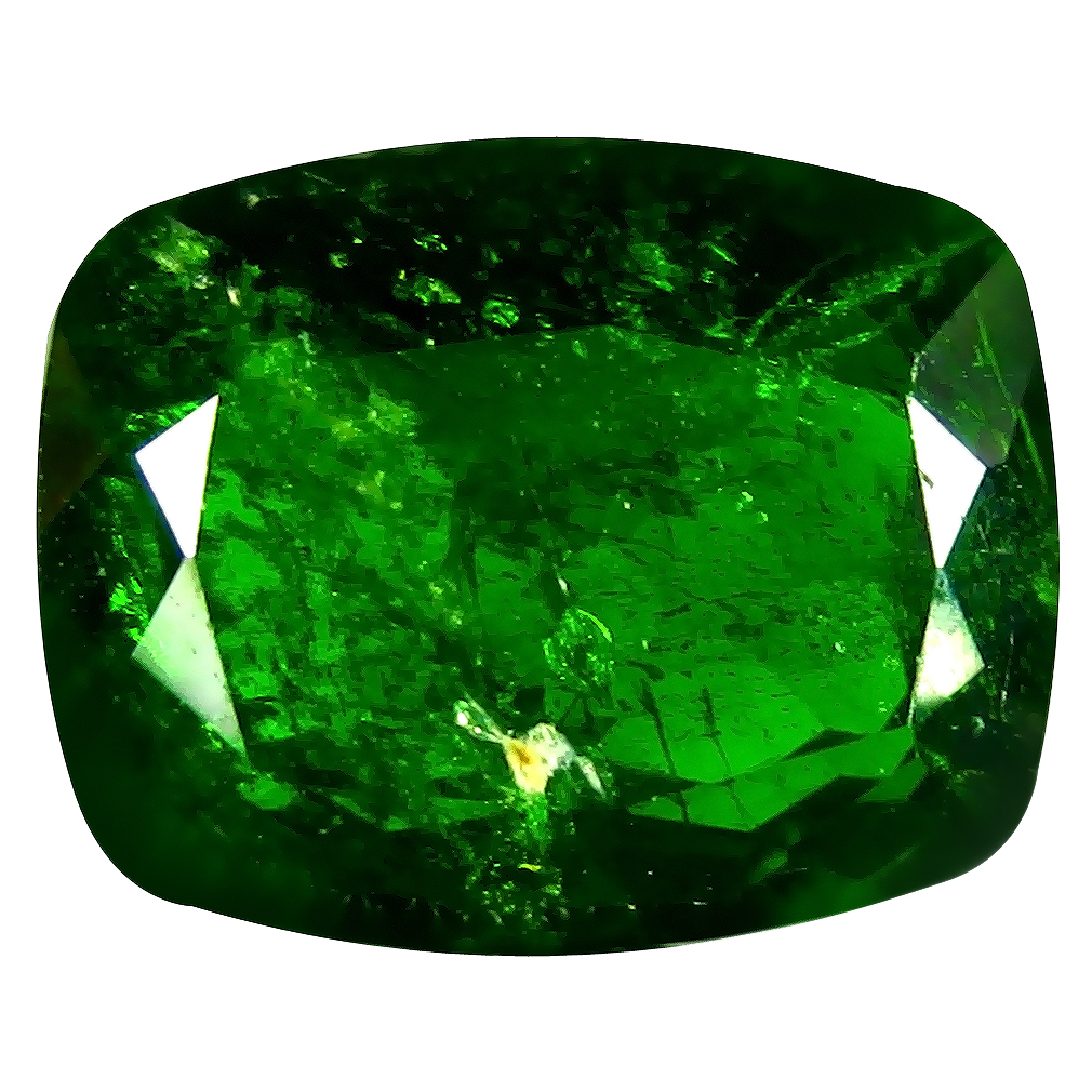7.46 ct AAA Shimmering Cushion Shape (13 x 10 mm) Green Chrome Diopside Natural Gemstone