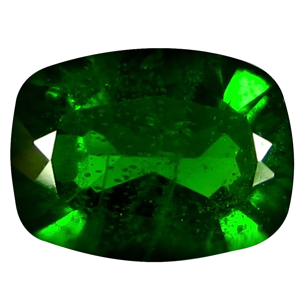 1.38 ct AAA+ Grand looking Cushion Shape (8 x 6 mm) Green Chrome Diopside Natural Gemstone
