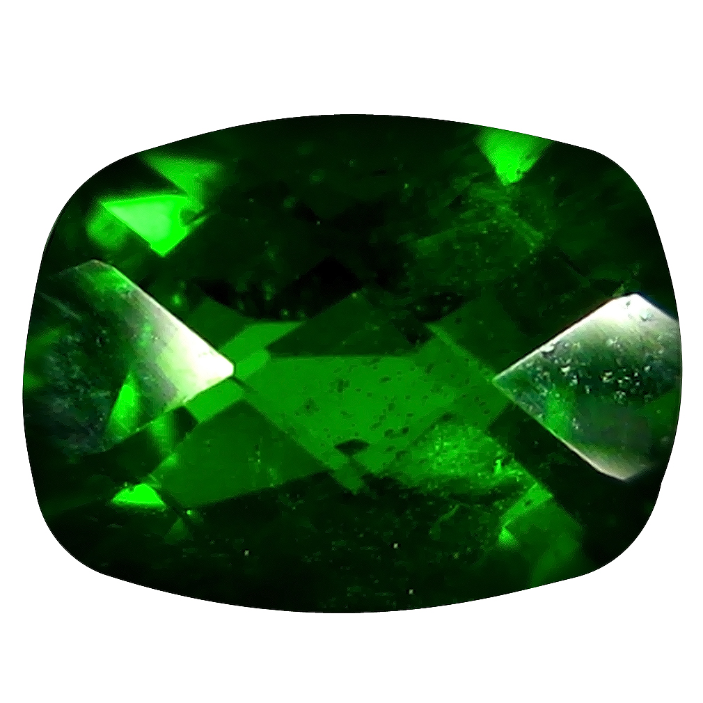 1.33 ct AAA+ Attractive Cushion Shape (8 x 6 mm) Green Chrome Diopside Natural Gemstone
