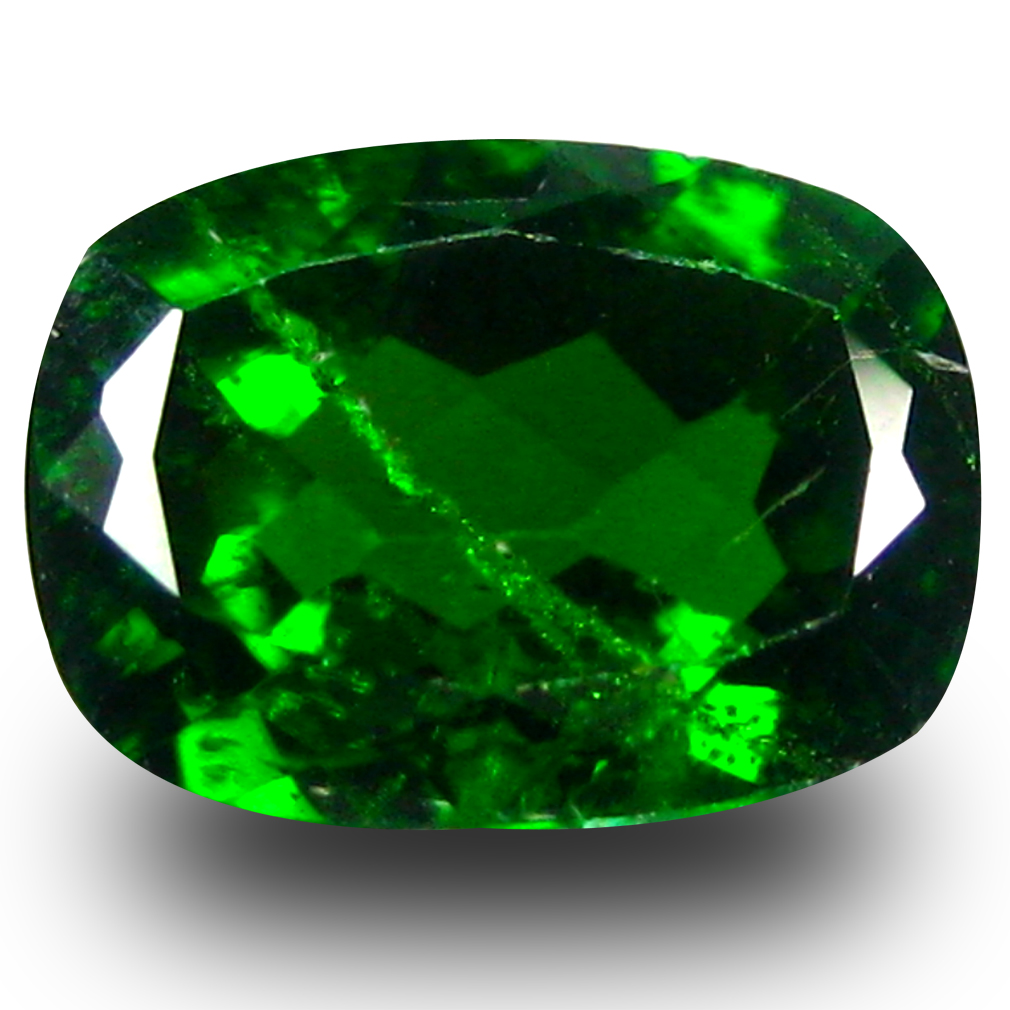 1.45 ct AAA+ Flashing Cushion Shape (8 x 6 mm) Green Chrome Diopside Natural Gemstone