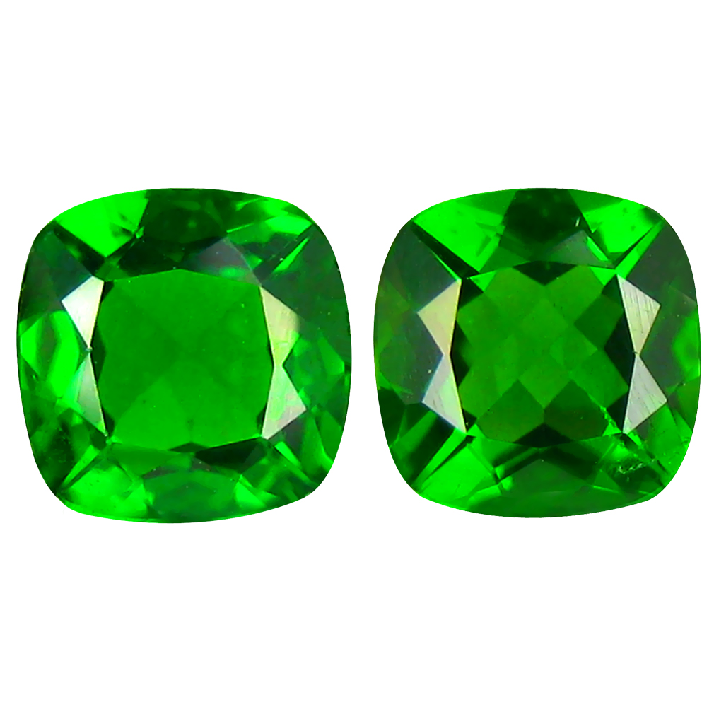 1.78 ct MATCHING PAIR Mesmerizing Cushion Cut (6 x 6 mm) Green Chrome Diopside Natural Gemstone