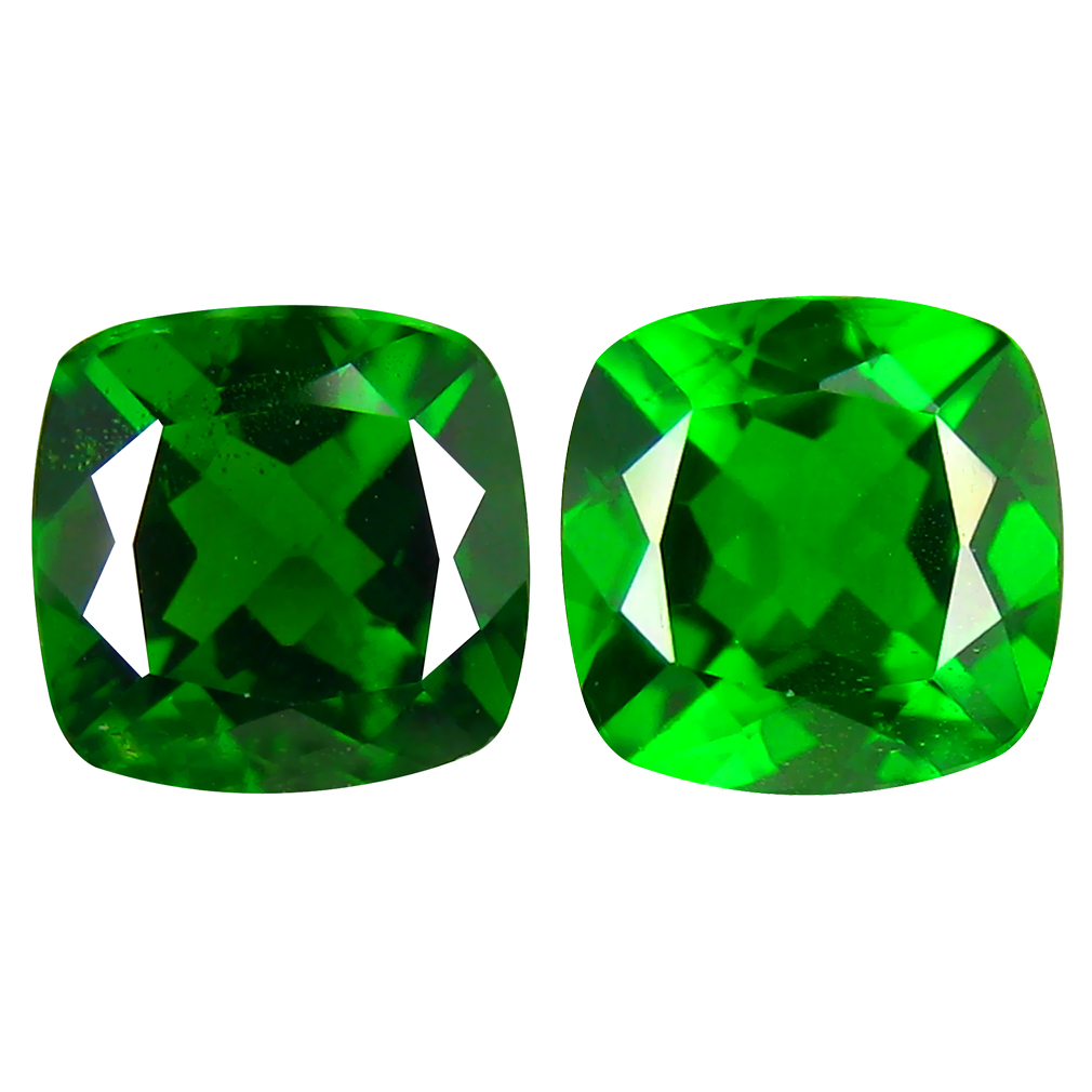 2.08 ct (2pcs) MATCHING PAIR Eye-popping Cushion Cut (6 x 6 mm) Green Chrome Diopside Genuine Stone