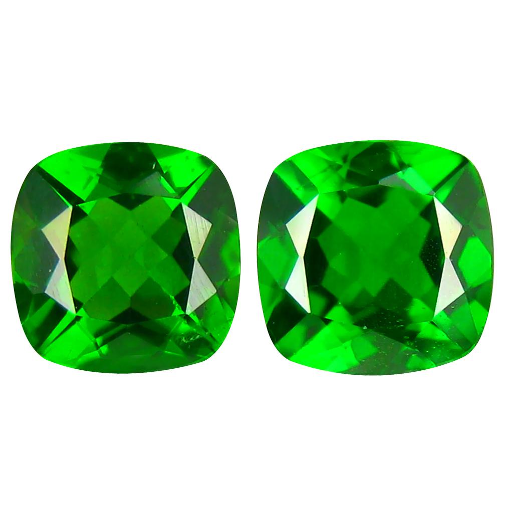 1.85 ct (2pcs) MATCHING PAIR Incredible Cushion Cut (6 x 6 mm) Green Chrome Diopside Genuine Stone
