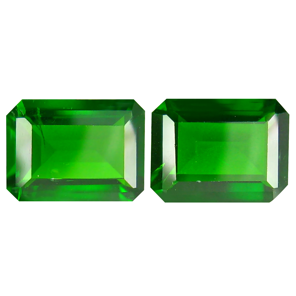2.80 ct MATCHING PAIR Tremendous Octagon Cut (8 x 6 mm) Green Chrome Diopside Natural Gemstone