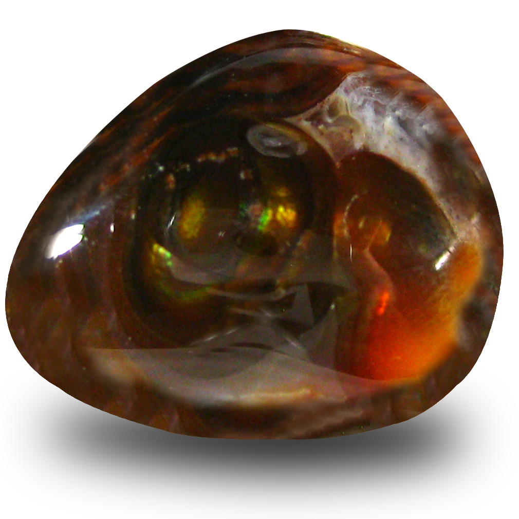 12.67 ct AAA Remarkable Fancy Shape (19 x 15 mm) Multi Color Fire Agate Natural Gemstone