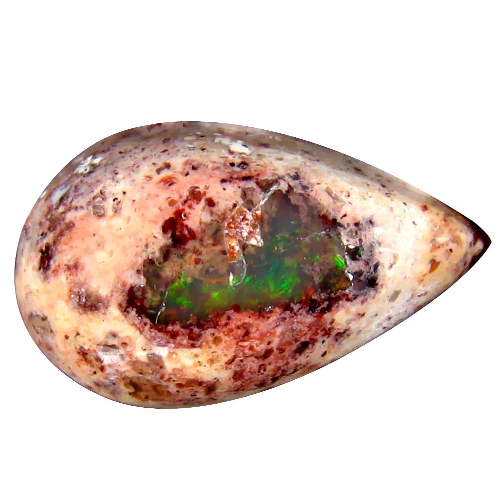 12.39 ct Wonderful Pear Cabochon (21 x 13 mm) Un-Heated Mexico Matrix Fire Opal Loose Gemstone