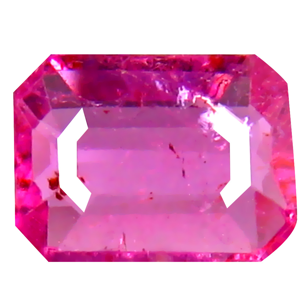 0.64 ct AAA+ First-class Emerald Shape (6 x 5 mm) Reddish Pink Rubellite Tourmaline Natural Gemstone