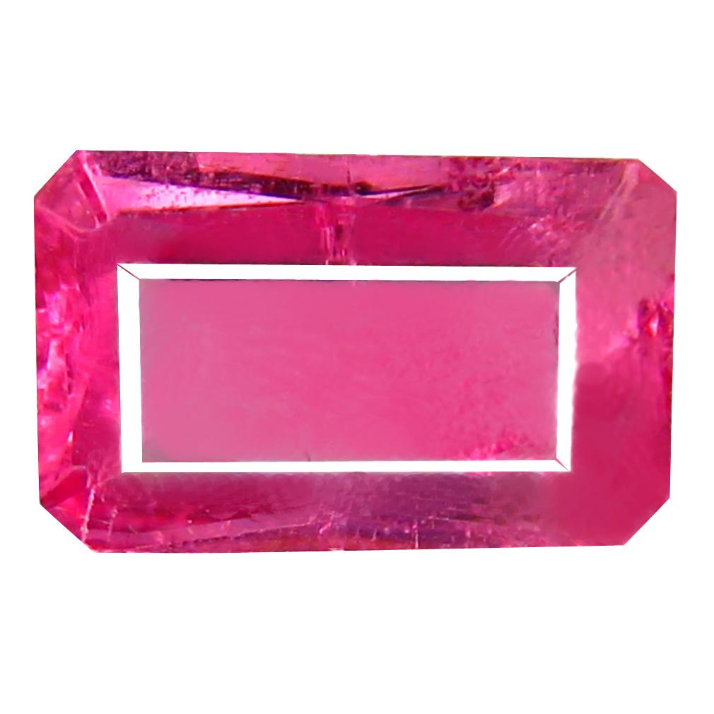 1.51 ct AAA+ Superior Emerald Shape (10 x 6 mm) Reddish Pink Rubellite Tourmaline Natural Gemstone