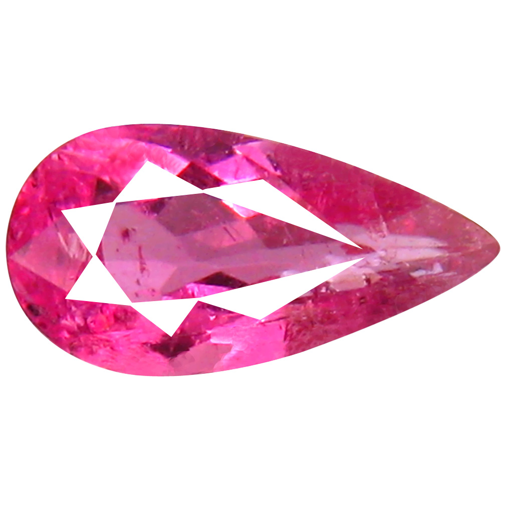 0.86 ct AAA+ Exquisite Pear Shape (9 x 5 mm) Reddish Pink Rubellite Tourmaline Natural Gemstone