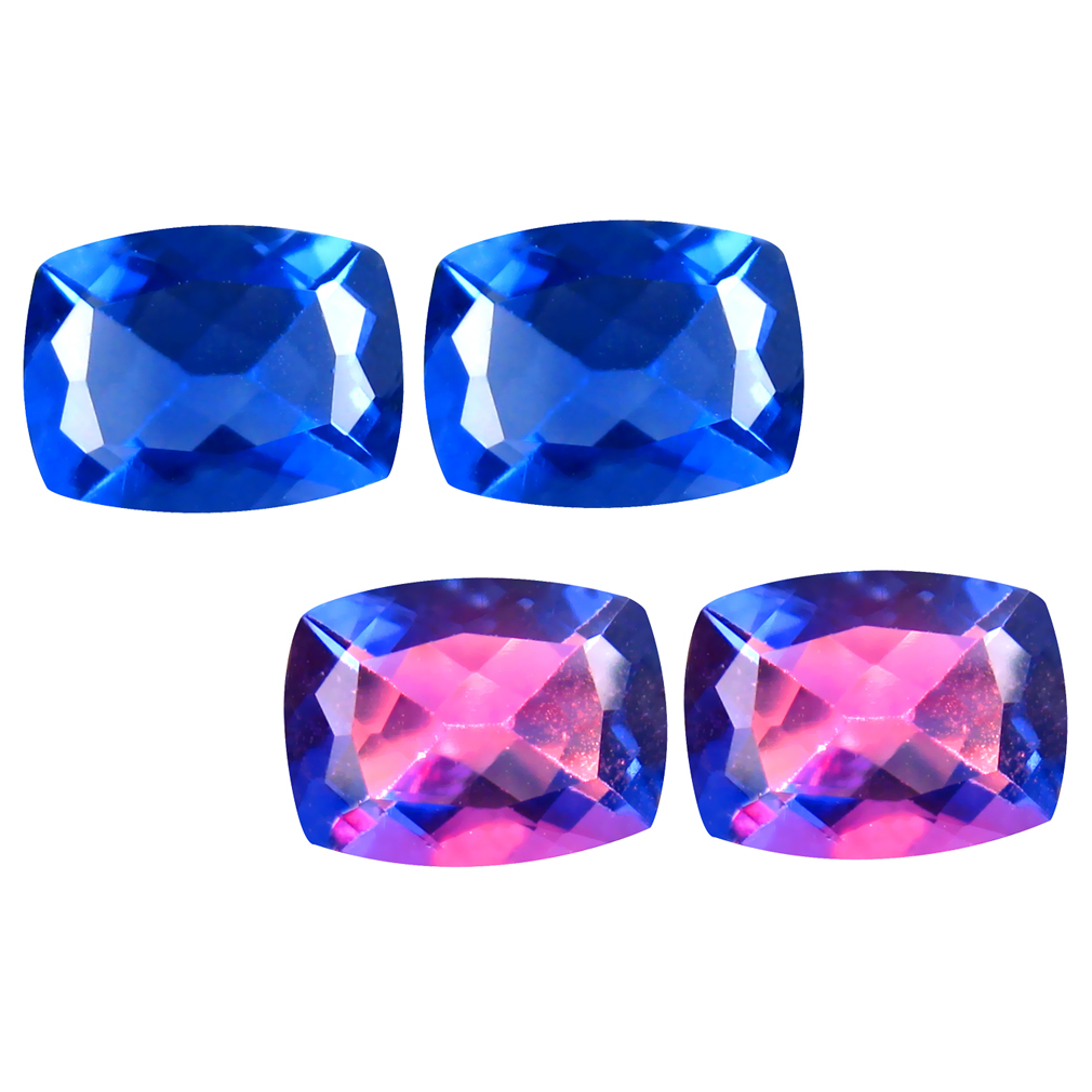 3.41 ct (2pcs) Attractive MATCHING PAIR 8 mm Cushion cut Un-Heated Fluorite Natural Gemstone