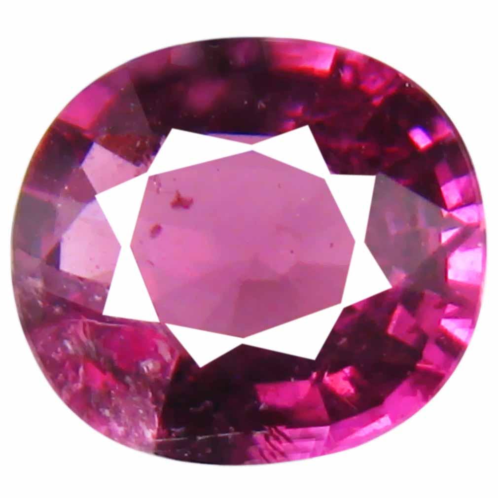 1.27 ct Premium Un-Heated Oval Cut (7 x 6 mm) Purplish Pink Rhodolite Garnet