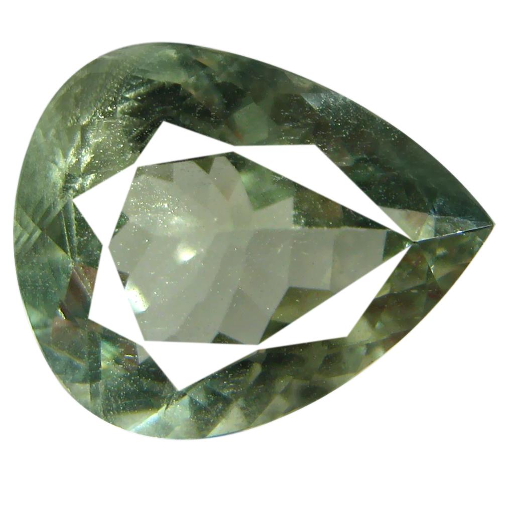 3.57 ct AAA Five-star Pear Cut (12 x 10 mm) Green Green Beryl Natural Gemstone