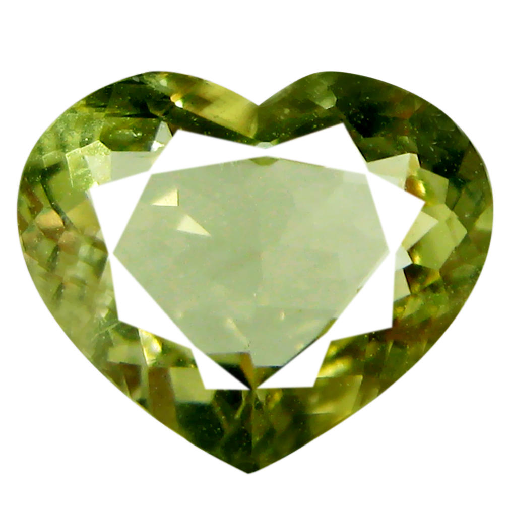 1.82 ct AAA Attractive Heart Cut (8 x 9 mm) Yellownish Green Green Beryl Natural Gemstone
