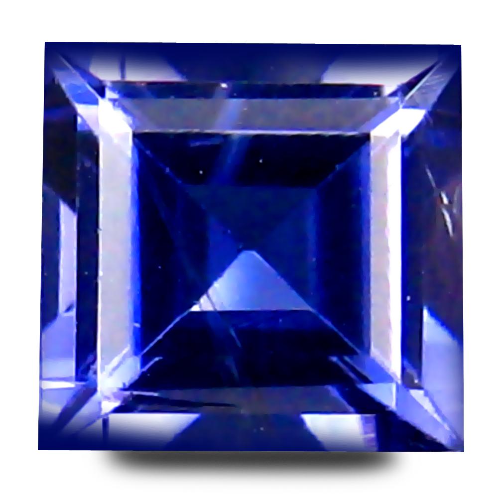 0.62 ct AAA Supreme Princess Shape (6 x 5 mm) Bluish Violet Iolite Natural Gemstone