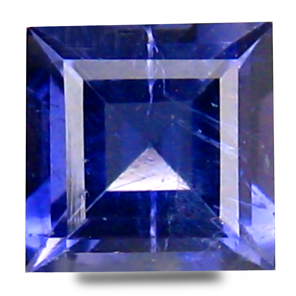 0.70 ct AAA Exquisite Princess Shape (6 x 6 mm) Bluish Violet Iolite Natural Gemstone