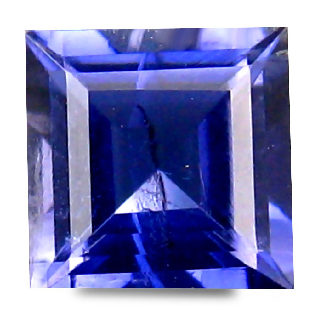 0.66 ct AAA Shimmering Princess Shape (6 x 5 mm) Bluish Violet Iolite Natural Gemstone
