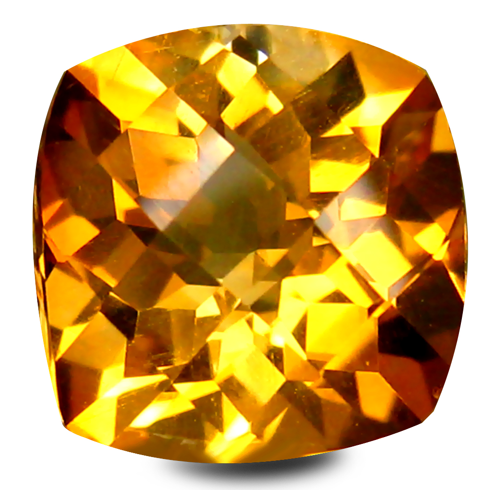 1.42 ct AAA Spectacular Cushion Shape (7 x 7 mm) Yellow Citrine Natural Gemstone