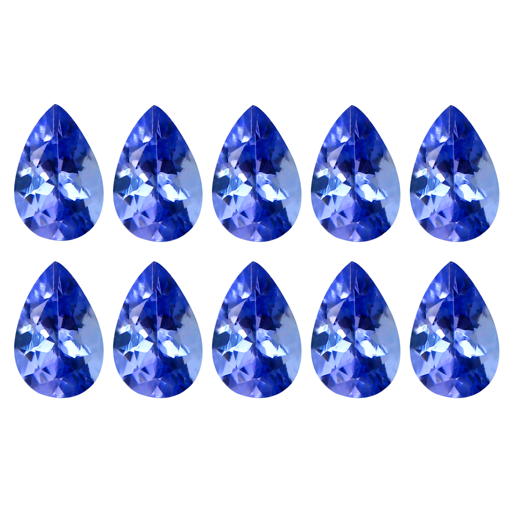 4.96 ct (10 pcs Lot) Five-star MIXED SIZE Purplish Blue Tanzanite Natural Gemstone