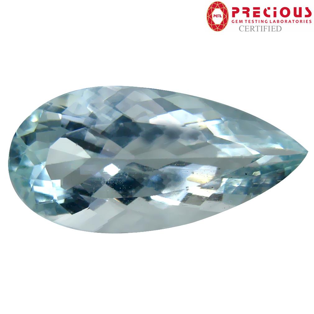 6.74 ct PGTL Certified Phenomenal Pear Cut (20 x 10 mm) Brazilian Aquamarine Natural Gemstone