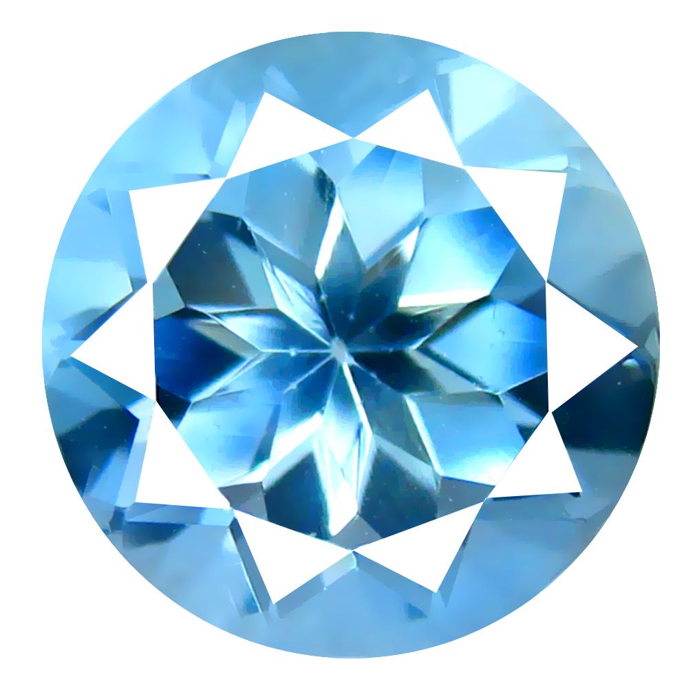 2.69 ct Attractive Round Cut (9 x 9 mm) Brazil Blue Aquamarine Natural Gemstone