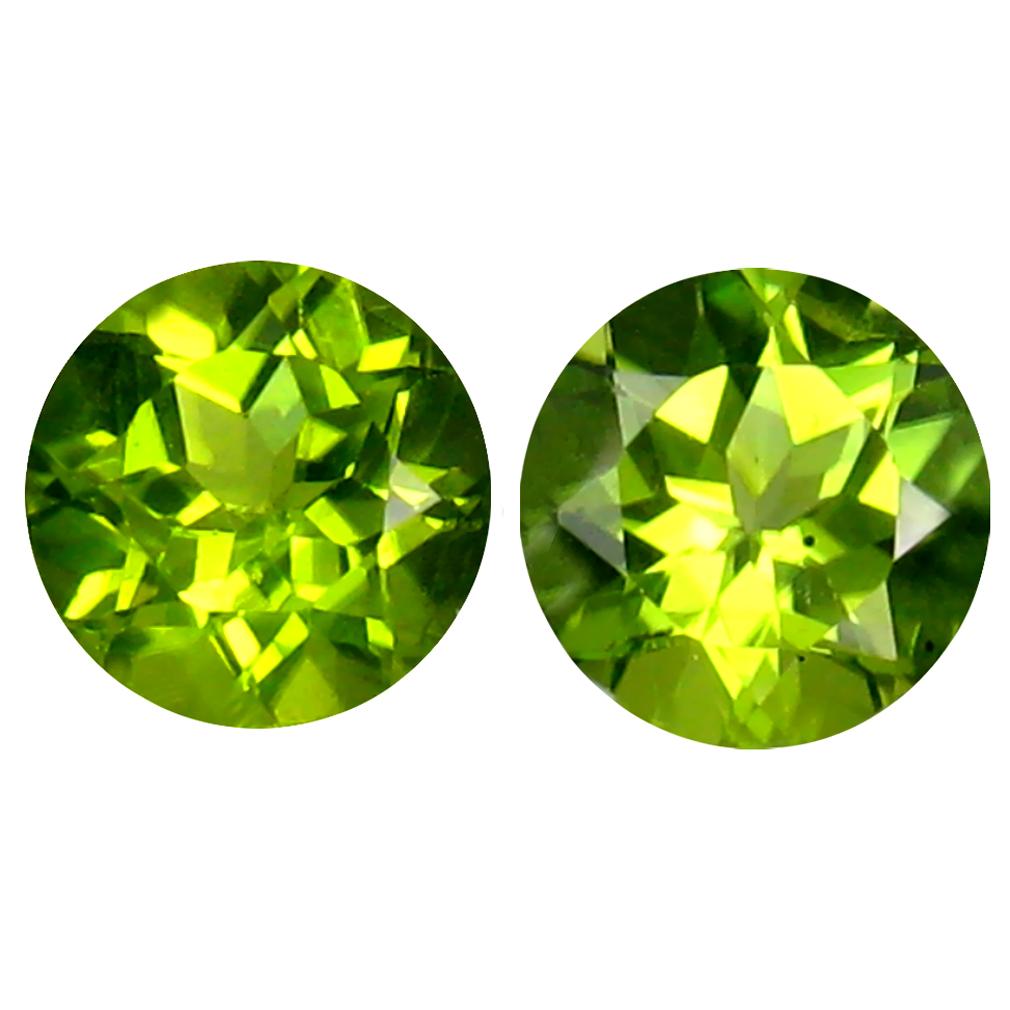 2.79 ct (2pcs) Lovely MATCHING PAIR 7 mm Round cut Un-Heated Peridot Natural Gemstone