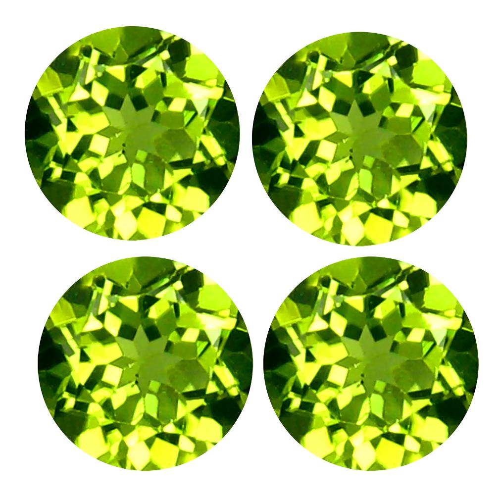 3.37 ct (4 pcs Lot) Dazzling WHOLESALE LOT Mixed Size Round Shape Peridot Natural Gemstone