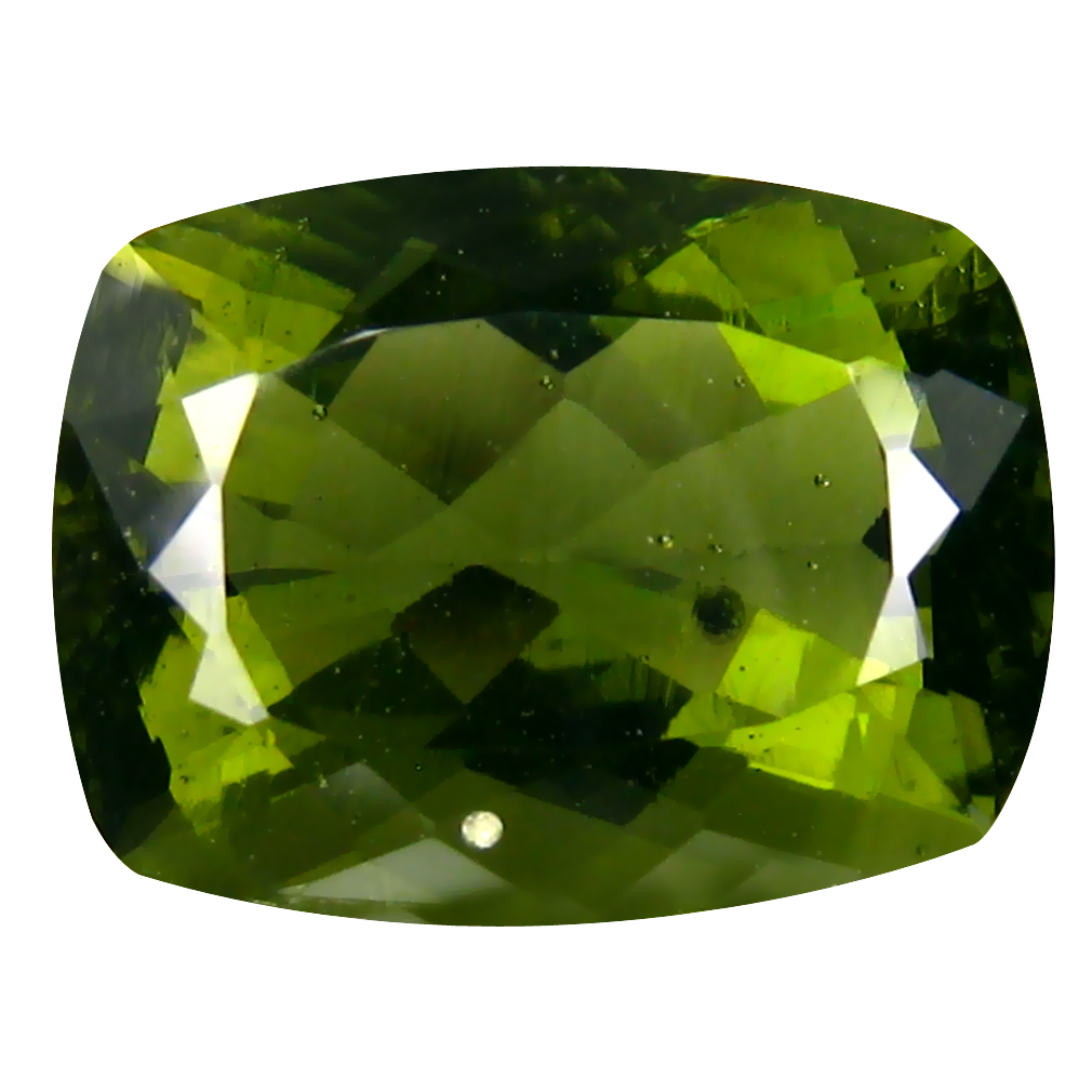 8.26 ct Superb Cushion Cut (18 x 11 mm) Czech Republic Green Moldavite Natural Gemstone