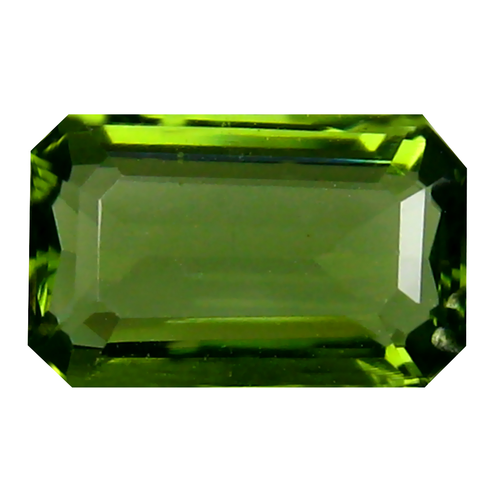 2.46 ct Dazzling Emerald Cut (11 x 7 mm) Czech Republic Green Moldavite Natural Gemstone