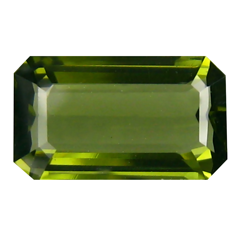 2.21 ct Phenomenal Emerald Cut (11 x 7 mm) Czech Republic Green Moldavite Natural Gemstone