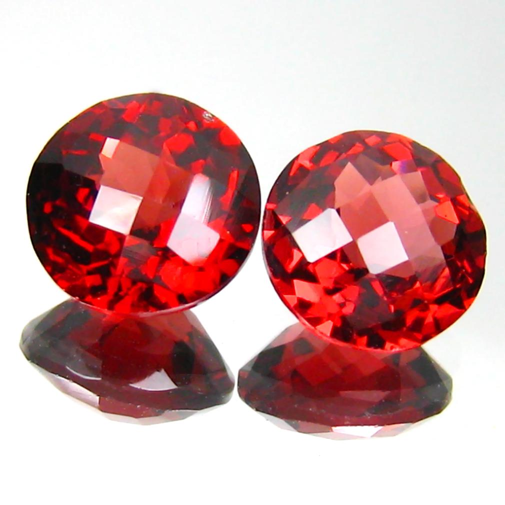 3.55 ct (2pcs) MATCHING PAIR First-class Round Cut (7 x 7 mm) Pinkish Red Rhodolite Garnet Genuine Stone