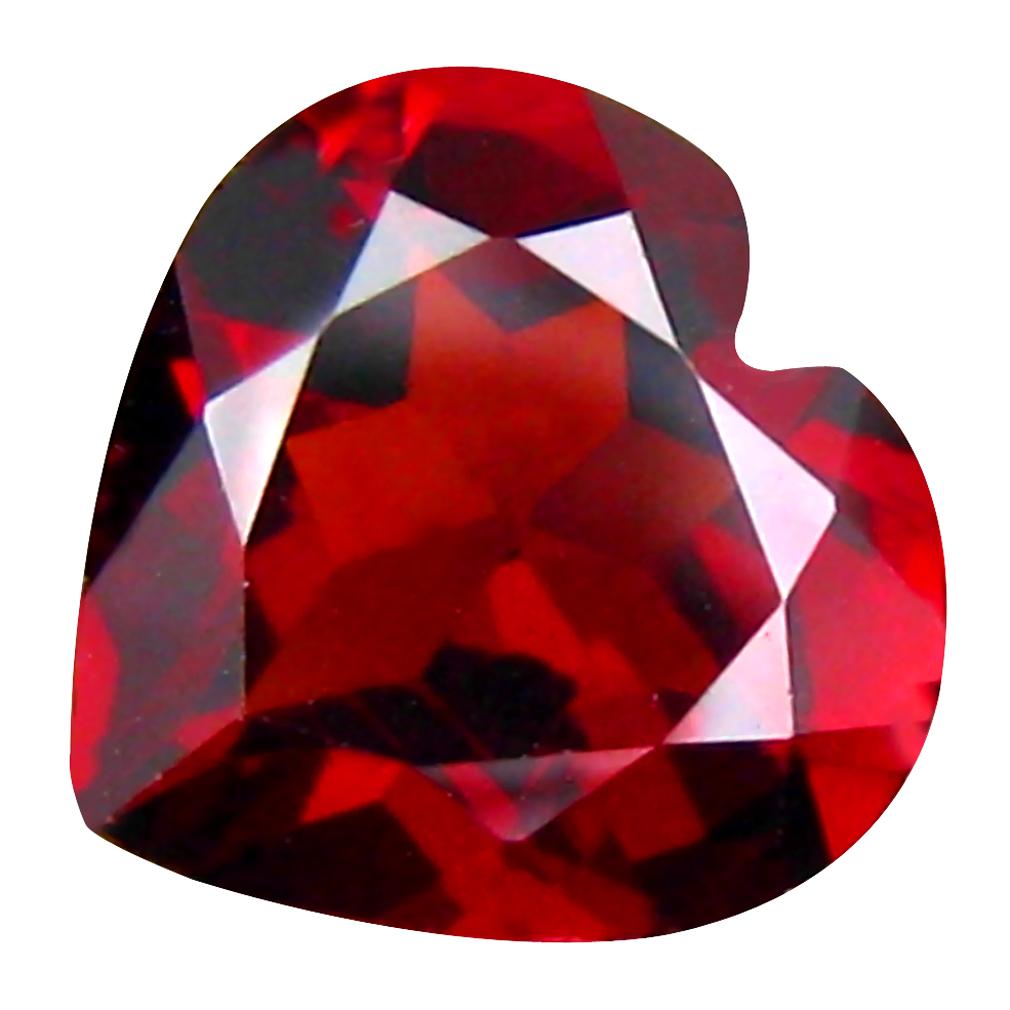 1.80 ct Superb Heart Cut (8 x 8 mm) Tanzanian Pinkish Red Rhodolite Garnet Loose Gemstone