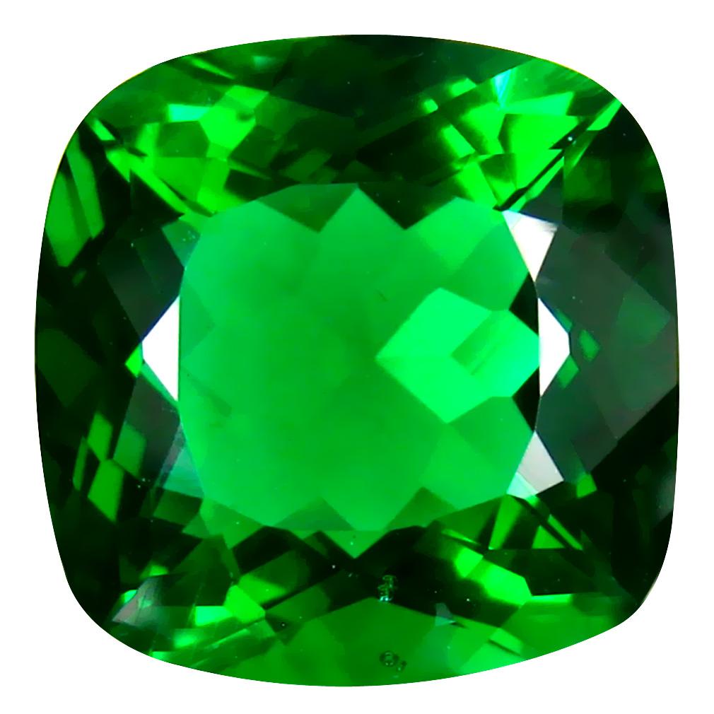 12.79 ct  Very good Cushion Shape (15 x 15 mm) Green Moldavite Natural Gemstone