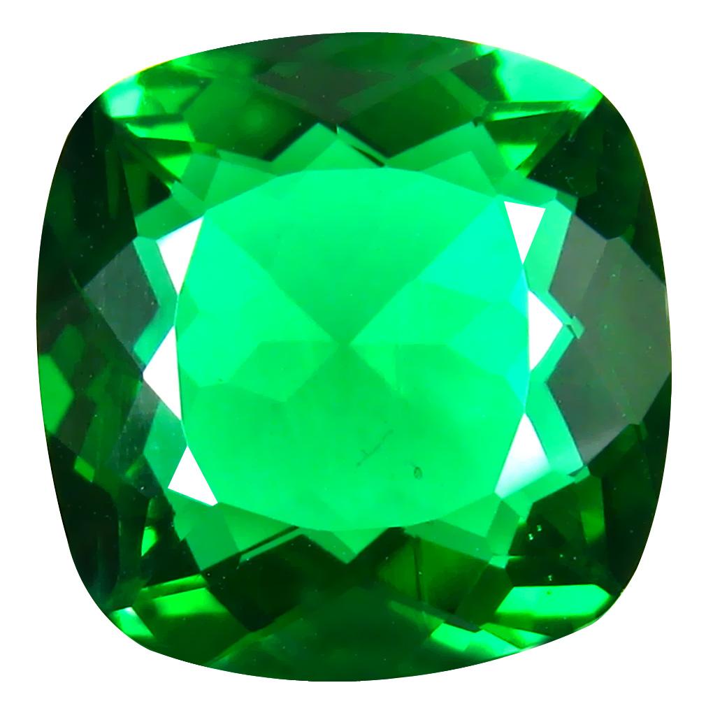 14.08 ct  Excellent Cushion Shape (16 x 16 mm) Green Moldavite Natural Gemstone