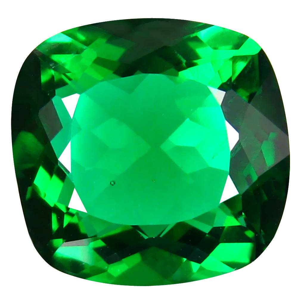 13.77 ct  Eye-opening Cushion Shape (17 x 16 mm) Green Moldavite Natural Gemstone